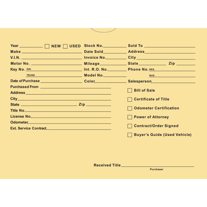 Vehicle Deal Envelopes (Deal Jackets) - Printed