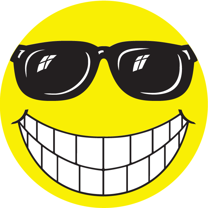 Happy Face W Glasses Window Sticker Graphic Resources Inc